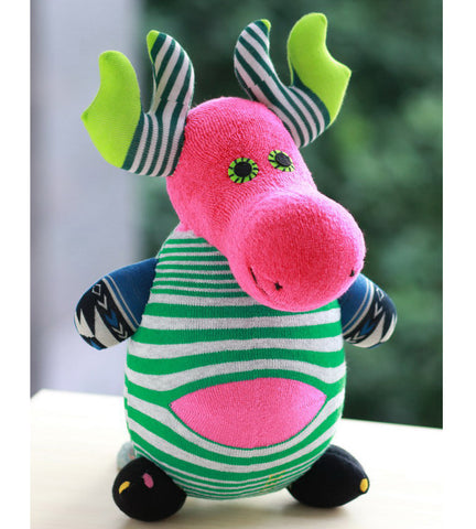 Maggy the moose sock animal in bright colours