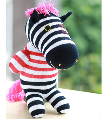 zachary the zebra sock animal blue pink toy