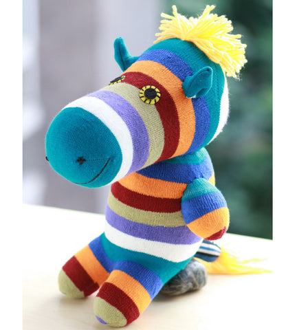 Zane the zebra sock animal made with love