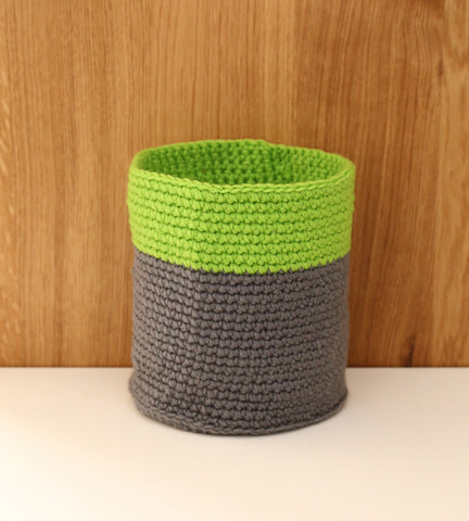 Green neon fluoro grey basket nursery decor