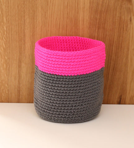 Pink neon fluoro grey basket nursery decor