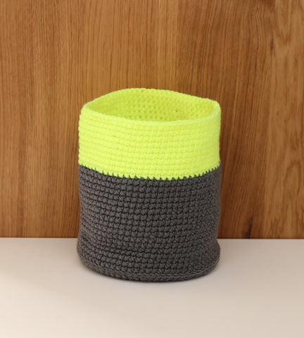 Yellow neon fluoro grey basket nursery decor
