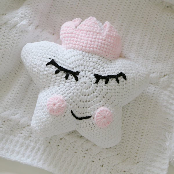 Crochet Star Cushion With Crown (White) -Pre-order