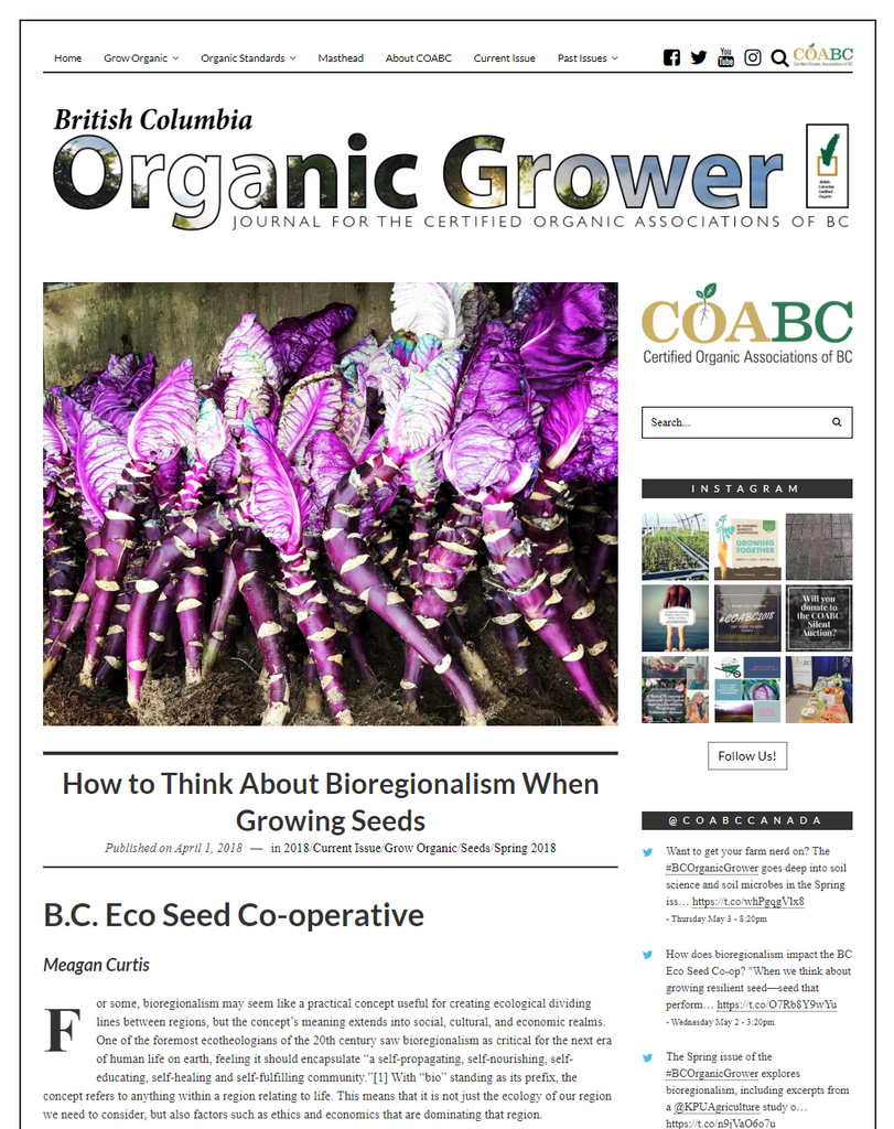BC Eco Seeds Co-op in Spring Issue of BC Organic Grower