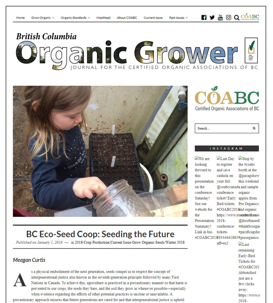 BC Eco Seeds Co-op in the BC Organic Grower