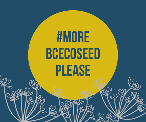 #morebcecoseedplease centered in yellow circle on a blue background above three umbels