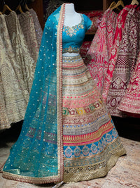 Maya Blue and Multicolor Party Wear Lehenga PWL-029