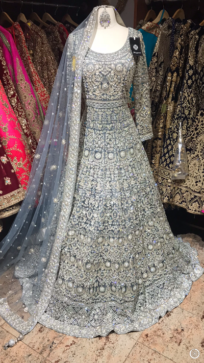 Grey Zardosi Embroidered Gown