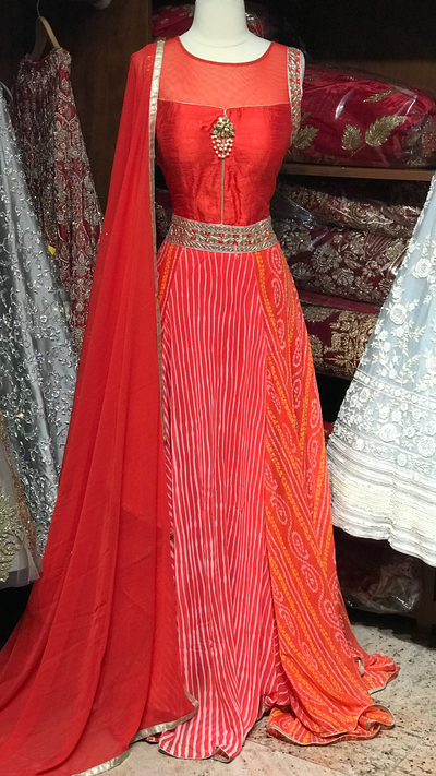 Orange Bandhani Size 38 Anarkali