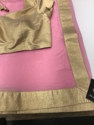 Baby Pink Georgette Saree w/ Readymade Blouse