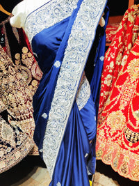 Royal Blue Satin Silk Saree PWS-033