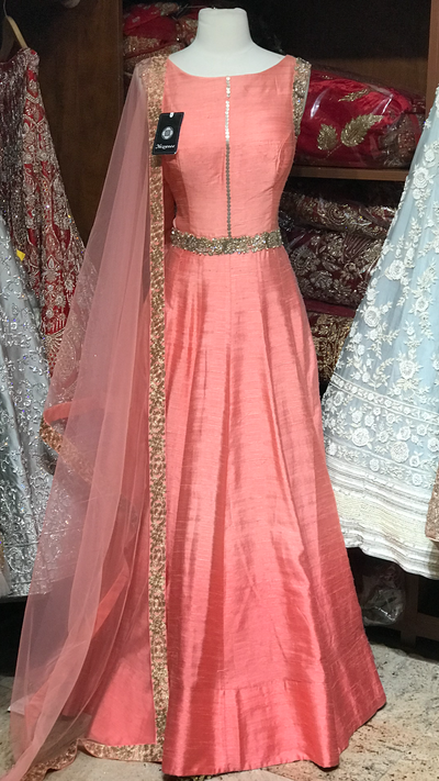 Pink Size 38 Raw Silk Anarkali