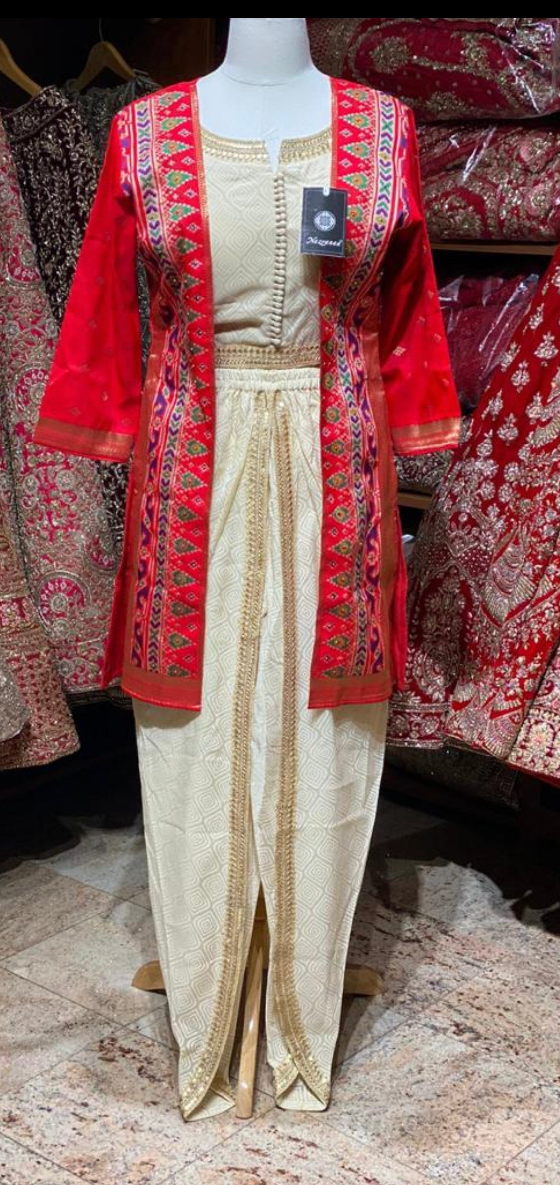 Red Jacket Dhoti Party Wear Suit Collection PWS-045