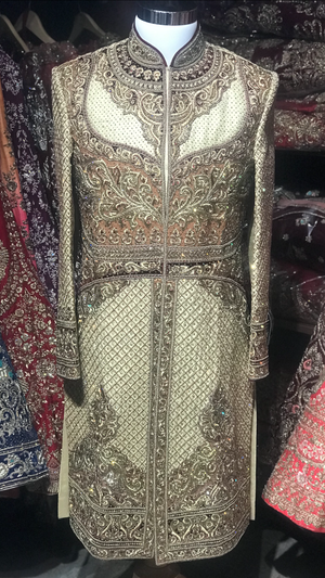 Gold & Orange Heavy Sherwani