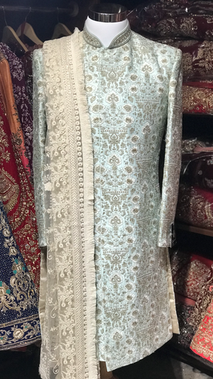 Light Blue Floral Sherwani