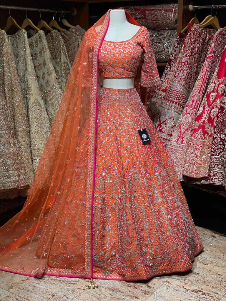 The Bespoke Breathtaking Burnt Orange Bridal Wear Lehenga BWL-071