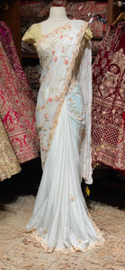 Pearl White Crepe Saree
