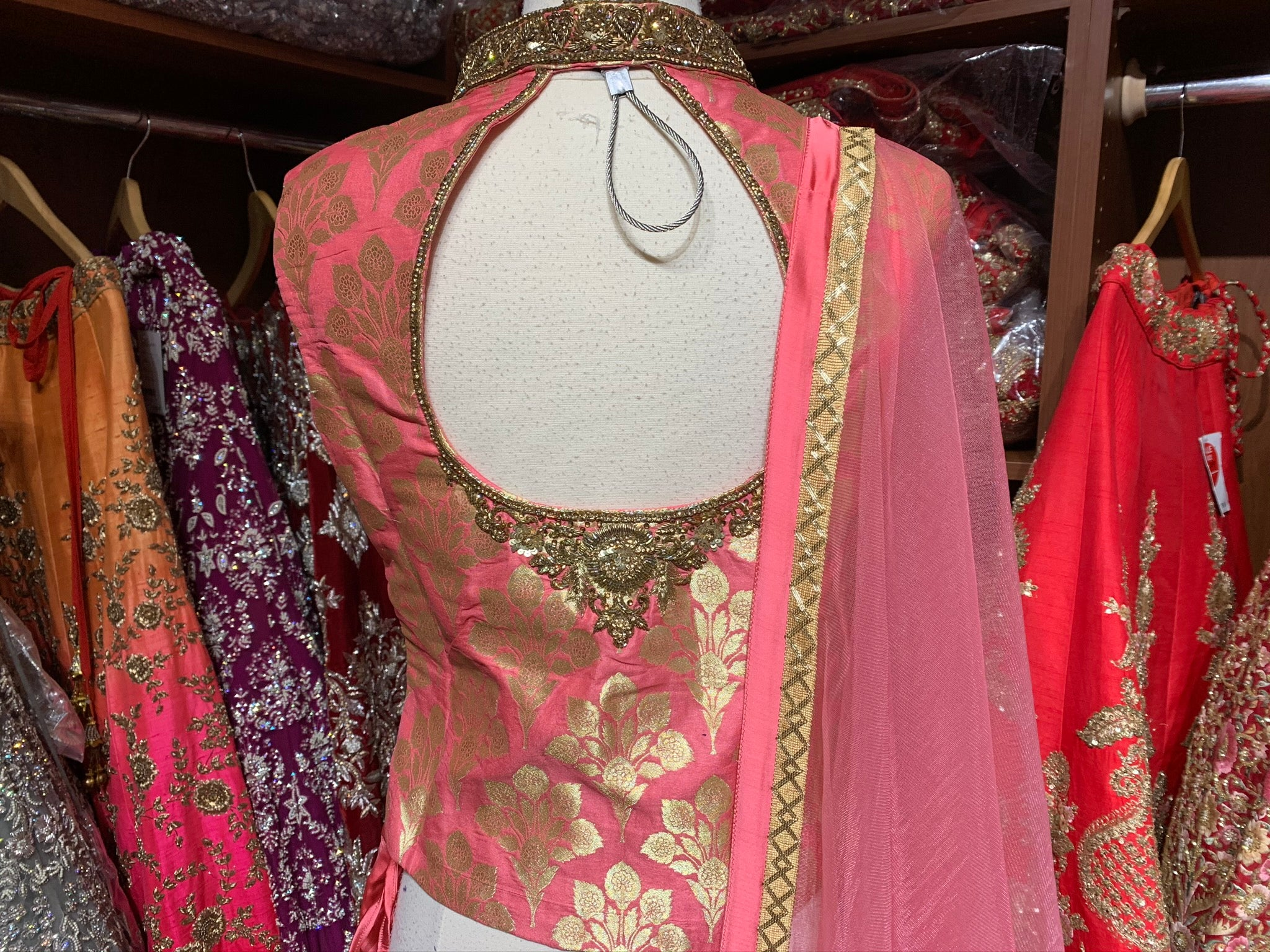 Pink Brocade Size 38 Dhoti Suit