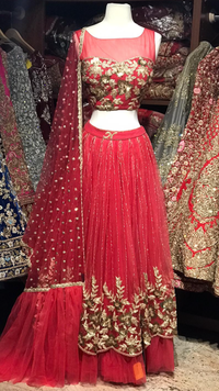 The Volcano Red Lehenga-PW44