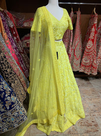 Yellow Size 38 Tonal Embroidery Lehenga