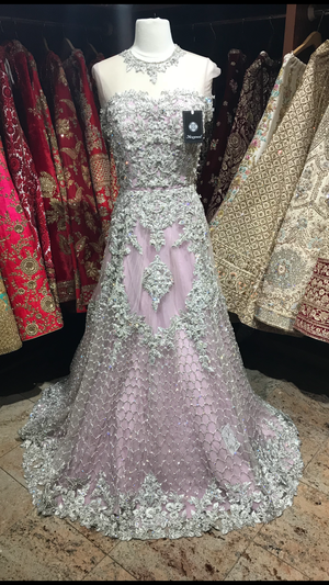 Lilac Silver Embroidery Gown