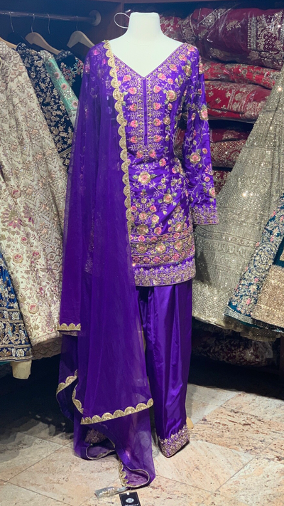 Purple Size 38 Pant Suit