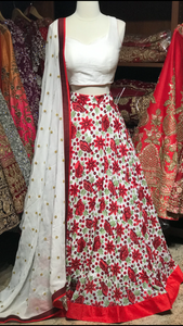 White Red Size 38 Embroidered Lehenga