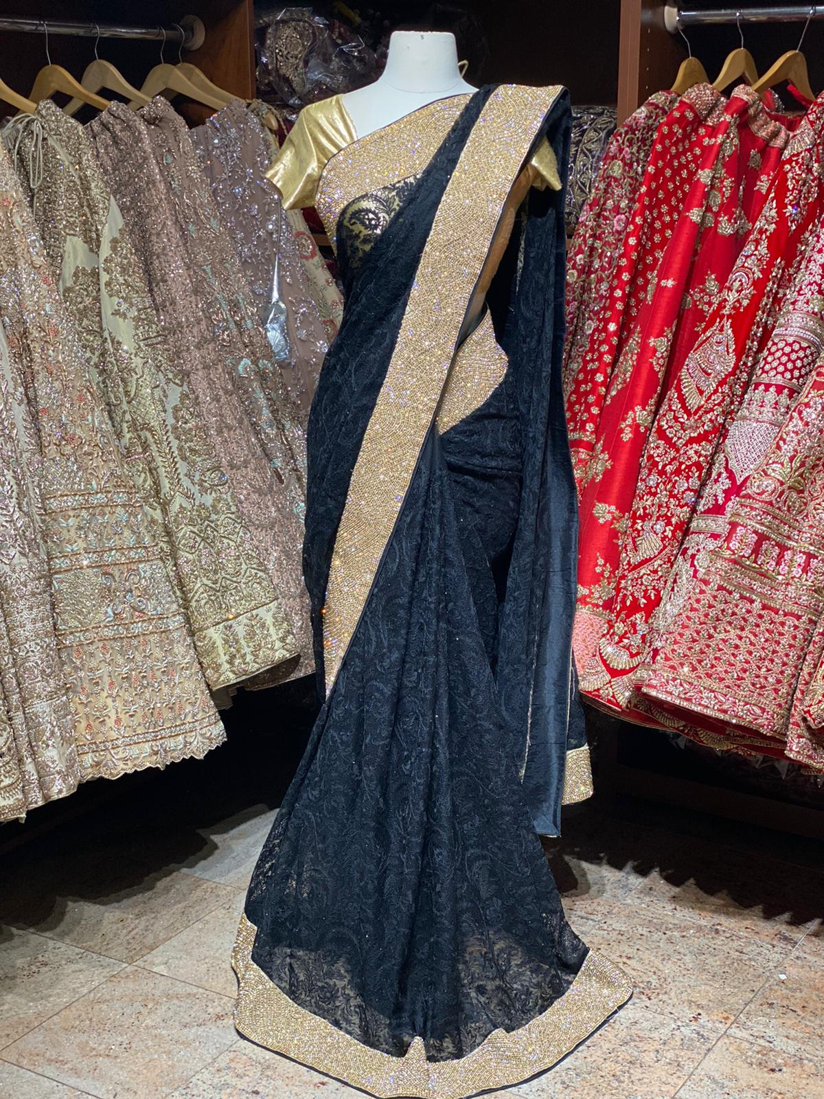 Onyx Black Net Saree PWS-008