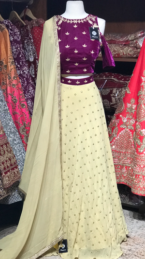 Purple Size 38 Cold Shoulder Lehenga