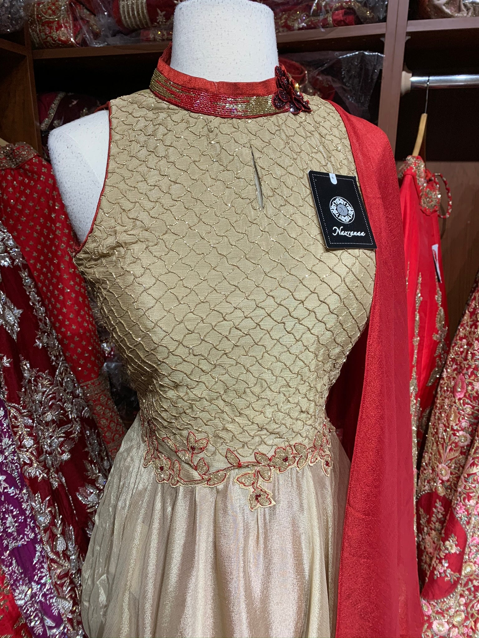 Gold Red Size 38 Dhoti Suit