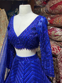 Dazzling Egyptian Blue Bridal Wear Lehenga BWL-077