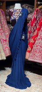 Navy Blue Pre-Stitched Saree W/ Readymade Blouse PSS-1