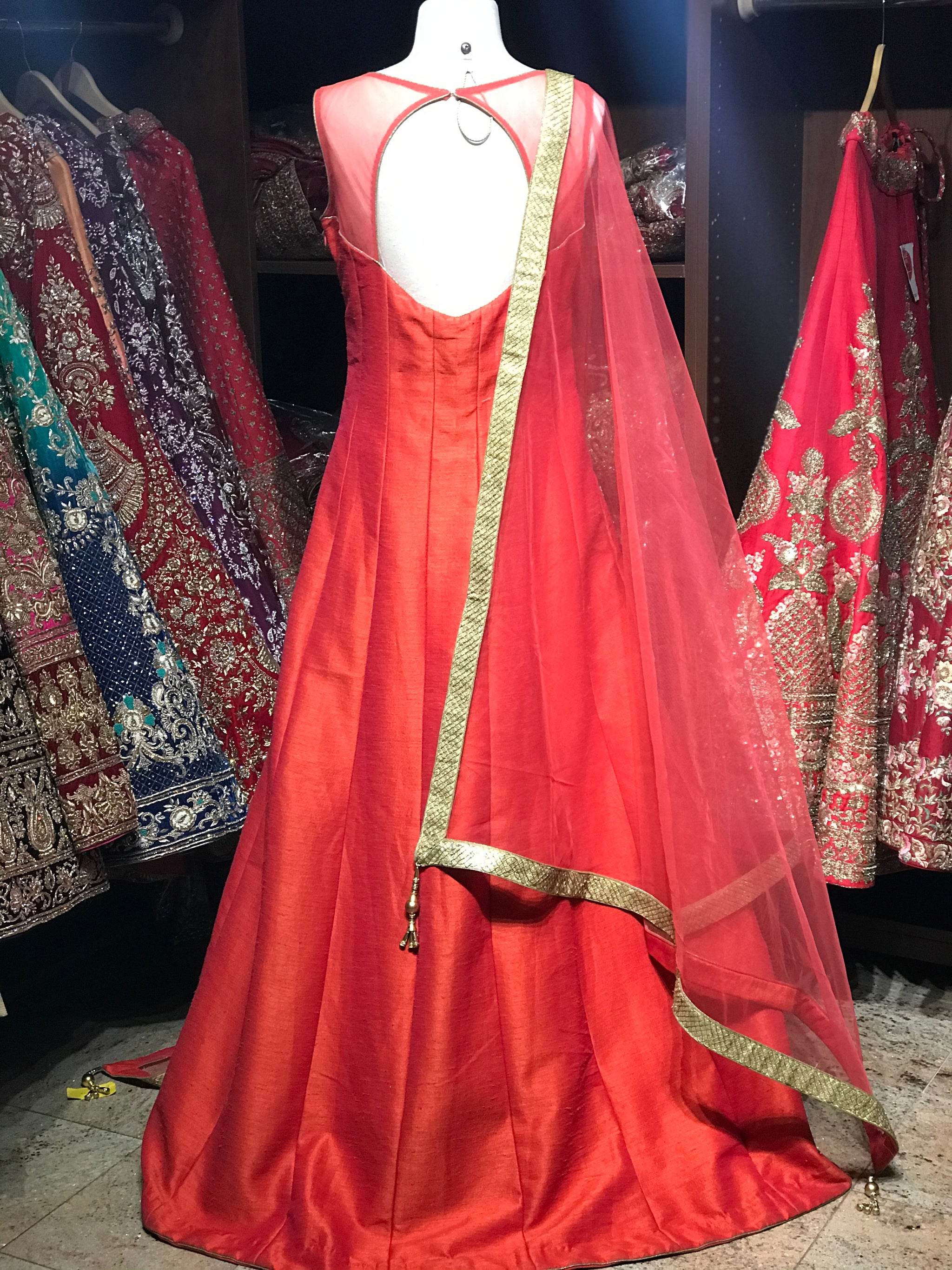 Orange Raw Silk Gown