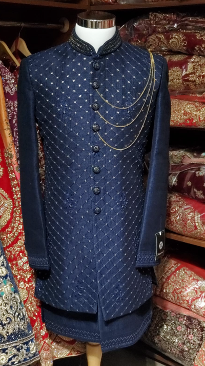 Navy Double Layer Sherwani