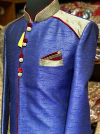 Royal Blue Raw Silk Size 44 Sherwani