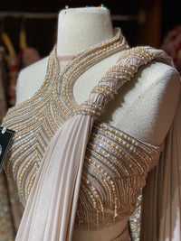 Blush Pink Pre-Stitched Saree W/ Readymade Blouse PSS-20