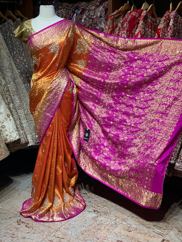 Orange and Pink Pure Silk Kanjeevaram Saree PSK-06