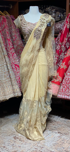 Golden Pre-Stitched Saree W/ Readymade Blouse PSS-10