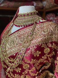 Rosewood Red Pure Silk Banarasi Bridal Saree BBS-003