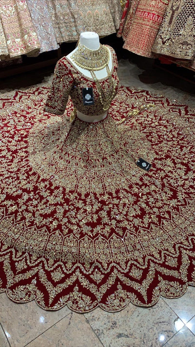 Red Velvet Bridal Lehenga