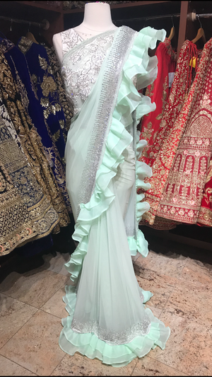 Mint Ruffle Saree