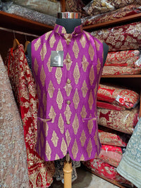 Purple Brocade Mens Vest V17