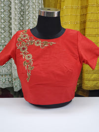 Fancy Raw Silk Stone Work Blouse R1S23