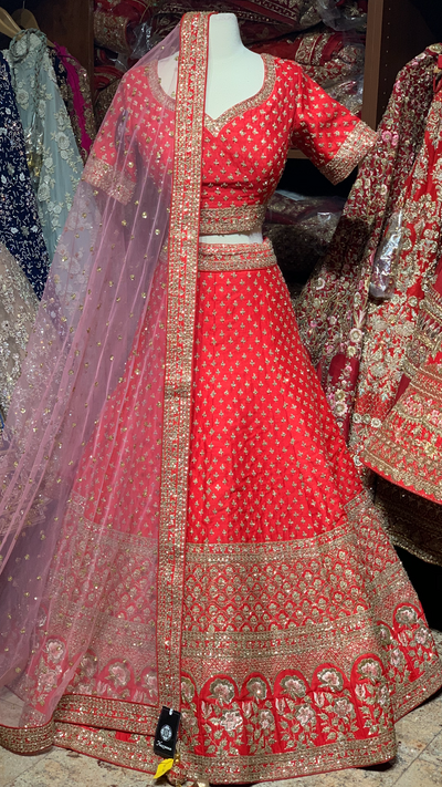 Red Raw Silk Size 38 Bridal Lehenga
