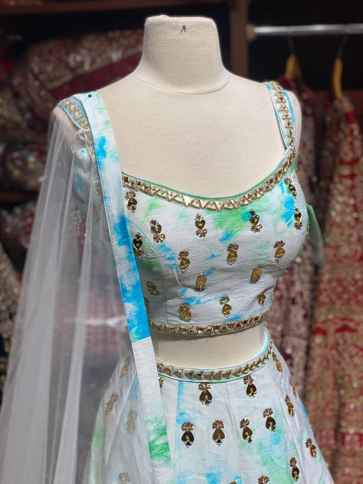 Tie n Dye Blue White Party Wear Lehenga PWL-058