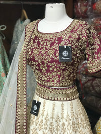 Cream Burgundy Size 40 Bridal Lehenga