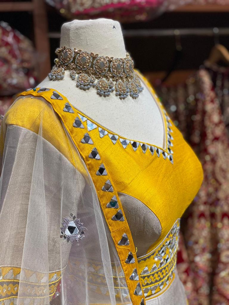 Mustard Yellow & Grey Party Wear Lehenga PWL-092