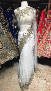 Ivory Sequin Saree