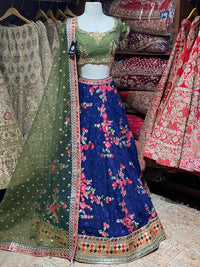 Royal Blue Floral Party Wear Lehenga PWL-033