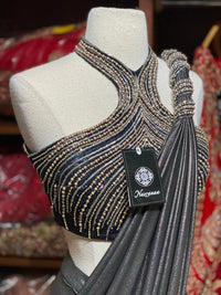 Sparkle Silver Pre-Stitched Saree W/ Readymade Blouse PSS-23